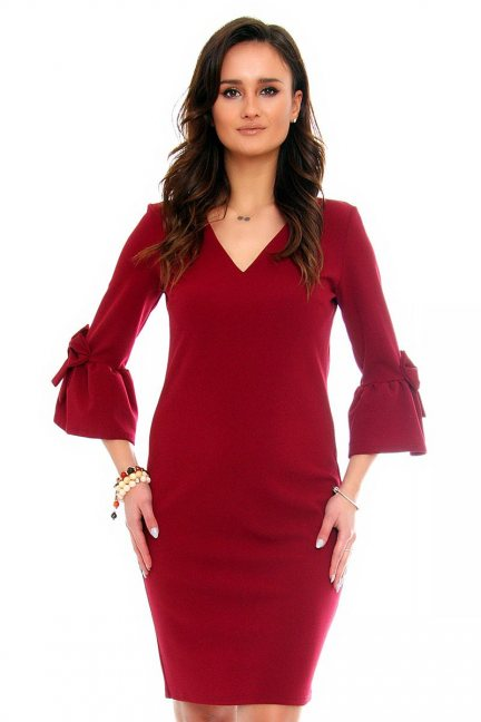 Sukienka koktajlowa kokardki CMK366 bordowa