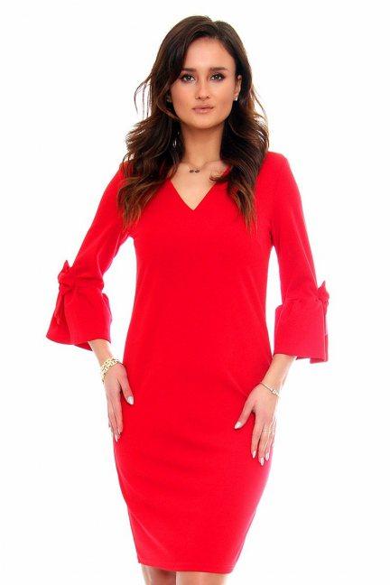 Sukienka koktajlowa kokardki CMK366 czerwona