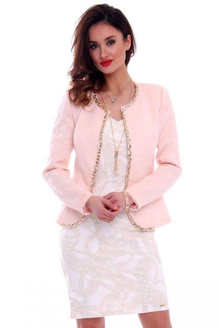 Elegancki pikowany żakiet CMK464 pudrowy róż