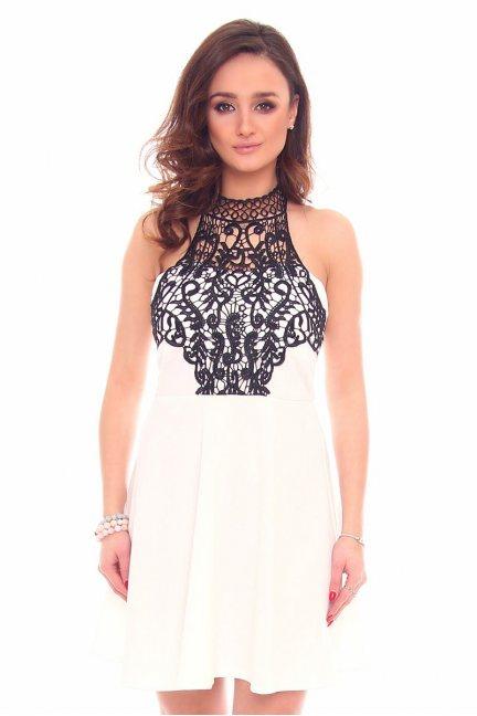 Sukienka wizytowa gipiura CMK903 ecru