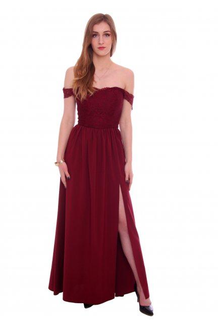 Sukienka długa z rozporem CMK936 bordowa