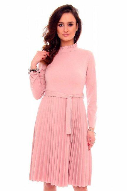 Sukienka plisowana różowa