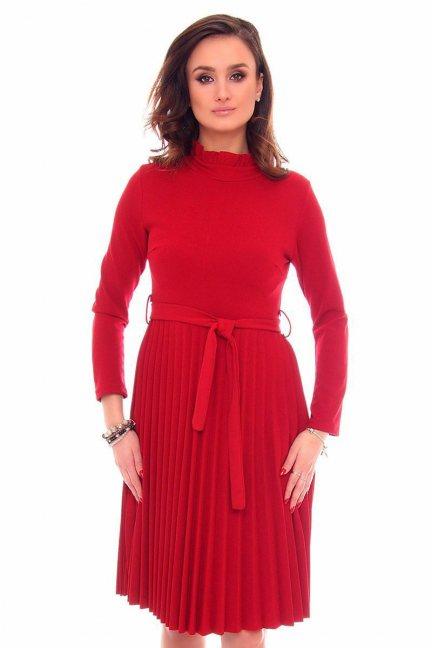 Sukienka plisowana midi CMK906 czerwona