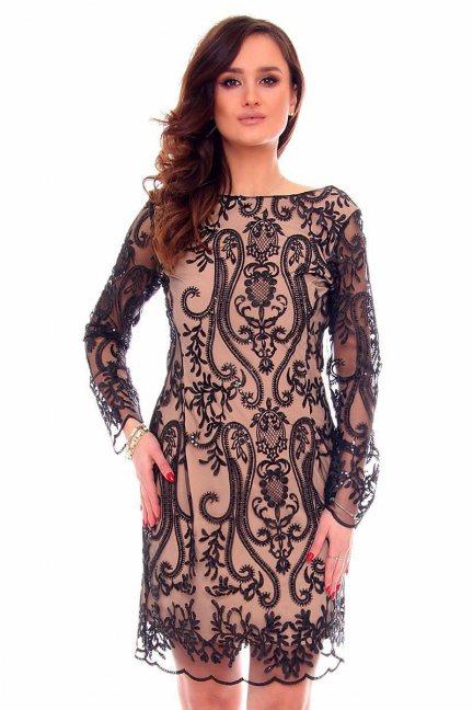 Sukienka ołówkowa z koronki CMK332 czarna