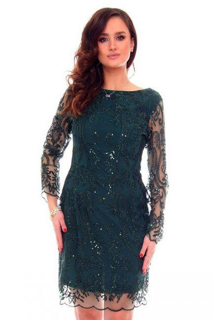 Sukienka ołókowa z koronki CMK332 zielona