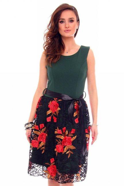 Sukienka elegancka róże CMK904 zielona