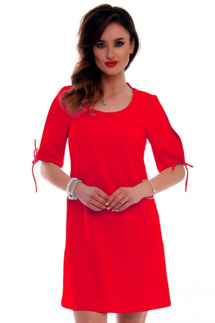 Sukienka trapezowa CMK521 czerwona
