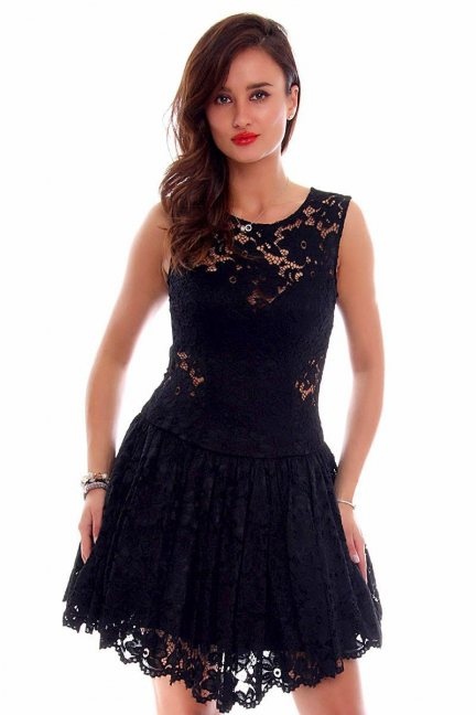 Sukienka koronkowa klosz CMK652 czarna