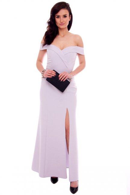Sukienka wizytowa maxi CMK937 szara