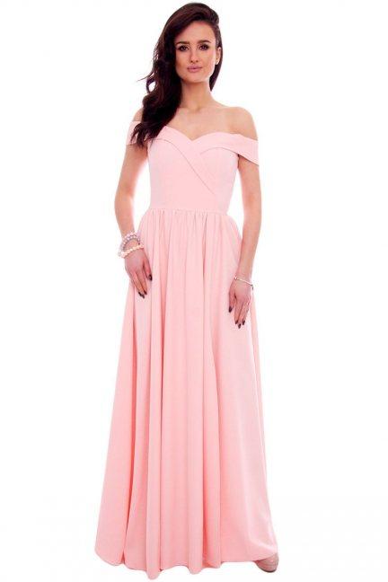 Sukienka maxi elegancka CMK938 pudrowy róż