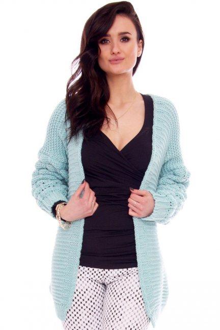 Sweter kardigan bąbelki CMK2064 miętowy