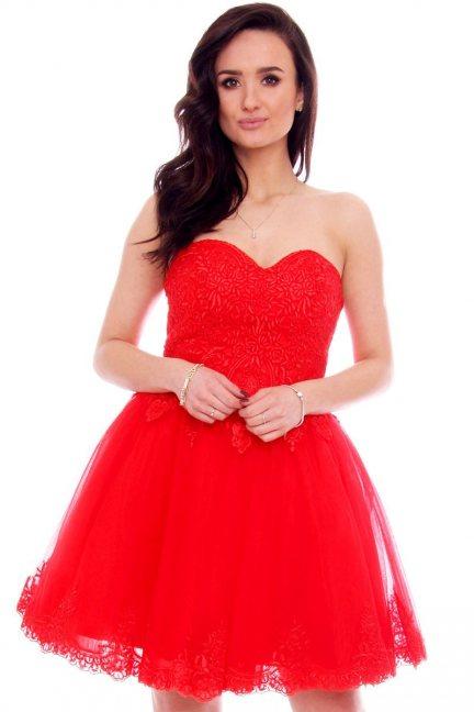 Sukienka gorset z koronką CMW16 czerwona