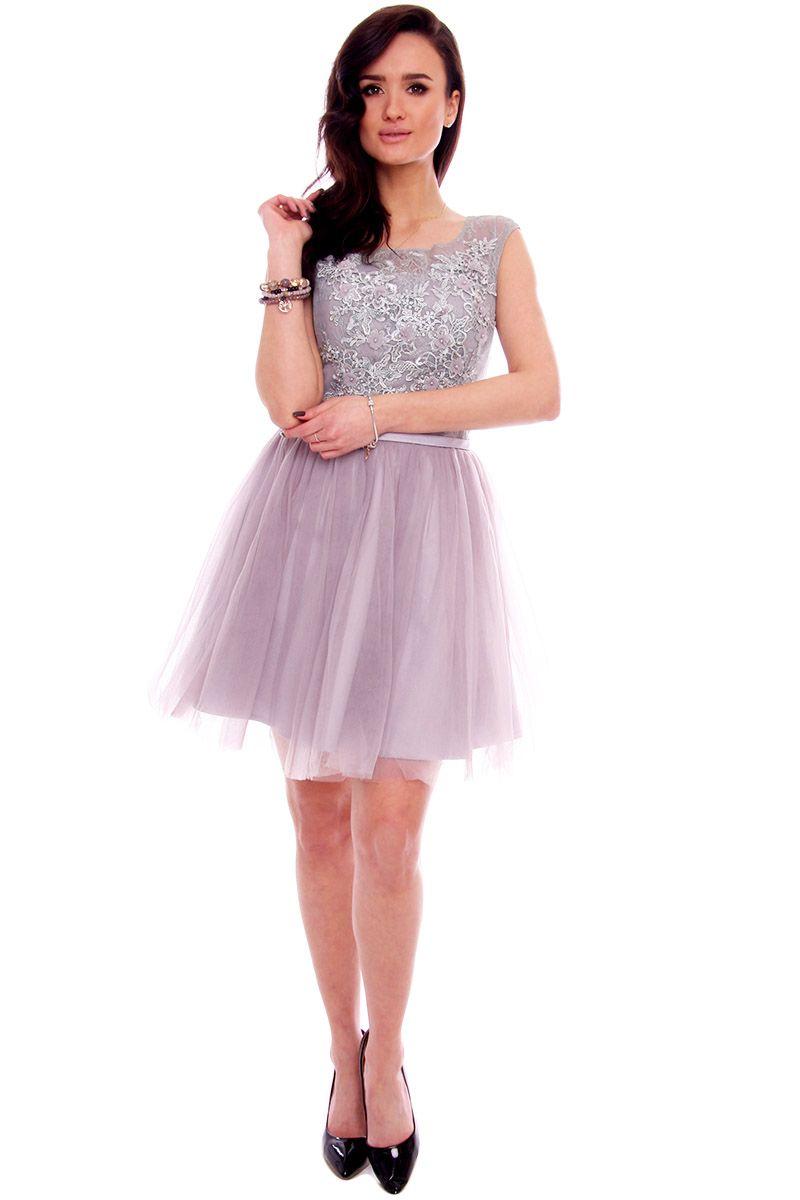 dd573d1fa2 Sukienka Tiulowa Gorset Cmw19 Szara Sukienki Z Koronki Cosmosmoda