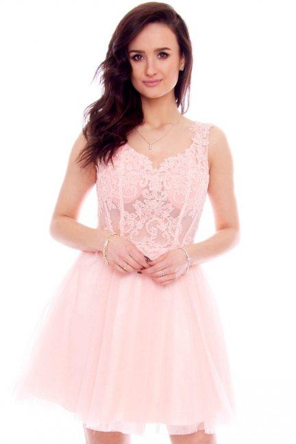 Sukienka elegancka tiulowa CMW21 rożowa
