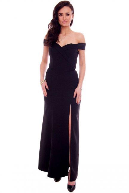 Sukienka wizytowa maxi CMK937 czarna