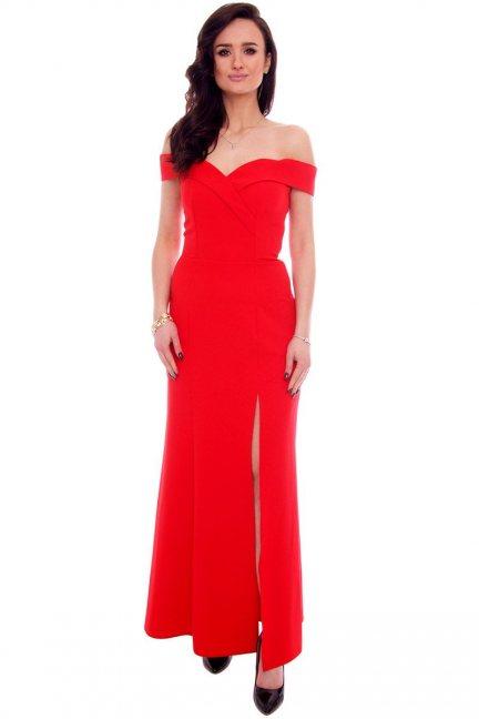 Sukienka wizytowa maxi CMK937 czerwona