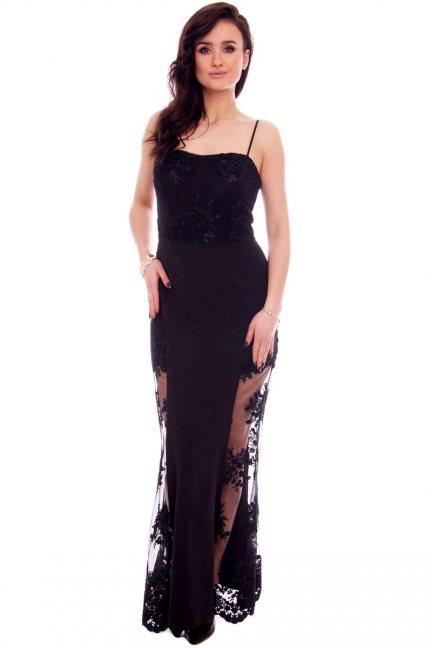 Sukienka maxi z koronką CMK935 czarna