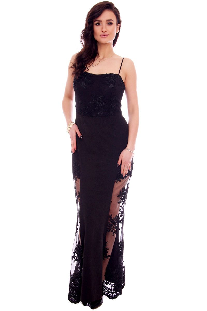 29b508820d Sukienka maxi z koronką CMK935 czarna sukienki wizytowe CosmosModa