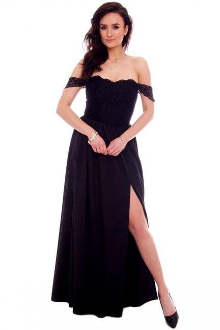 Sukienka długa z rozporem CMK936 czarna