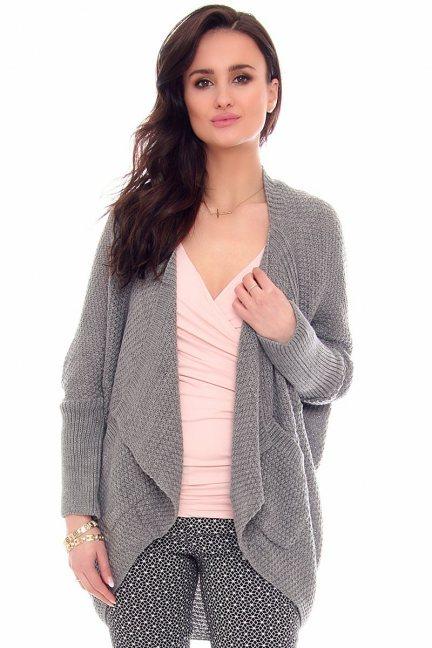 Sweter narzutka z kieszeniami CMK2013 szara