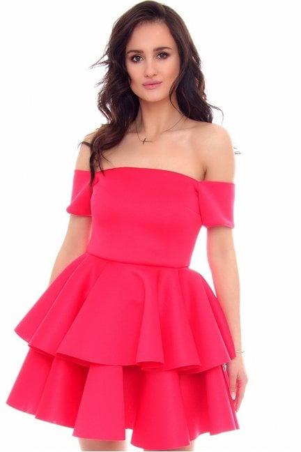 Sukienka mini z falbankami CMK947 fuksja