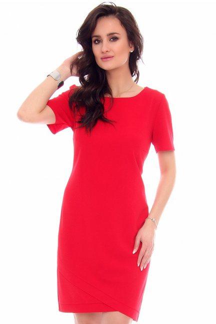 Sukienka ze skośnym dołem CMK948 czerwona