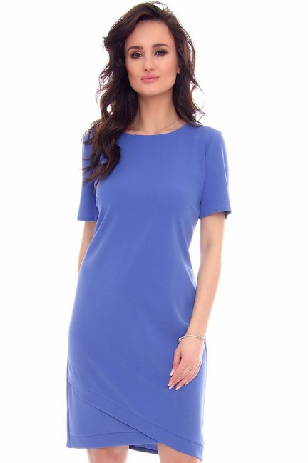 Sukienka ze skośnym dołem CMK948 niebieska