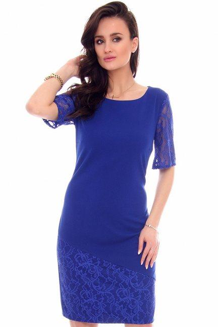 Sukienka koronkowe rękawy CMK949 chabrowa