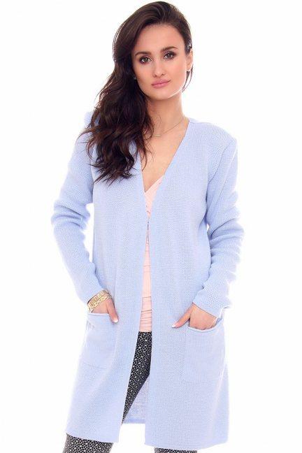 Sweter kardigan kieszenie CMK2065 niebieski