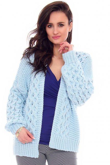 Sweter narzutka warkocz CMK2066 niebieski