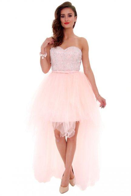 Sukienka tiulowa maxi CMW04 różowa