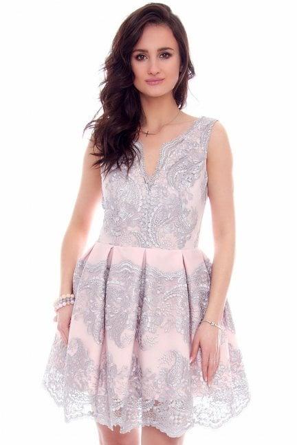Sukienka elegancka koronka CMK958 różowa