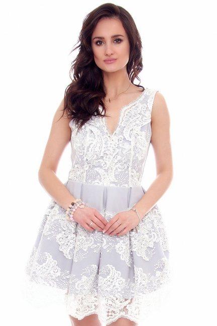 Sukienka elegancka koronka CMK958 szara