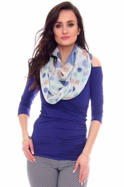 Chustka modna grochy CMS62 niebieska
