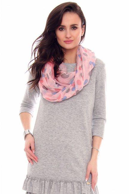 Chustka modna grochy CMS62 różowa