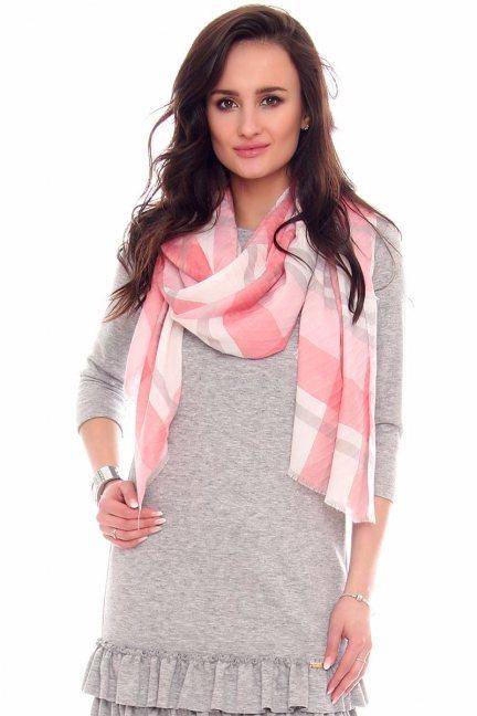 Chustka modna w kratkę CMS65 różowa