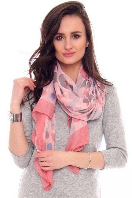 Chustka kolorowe grochy CMS66 różowa