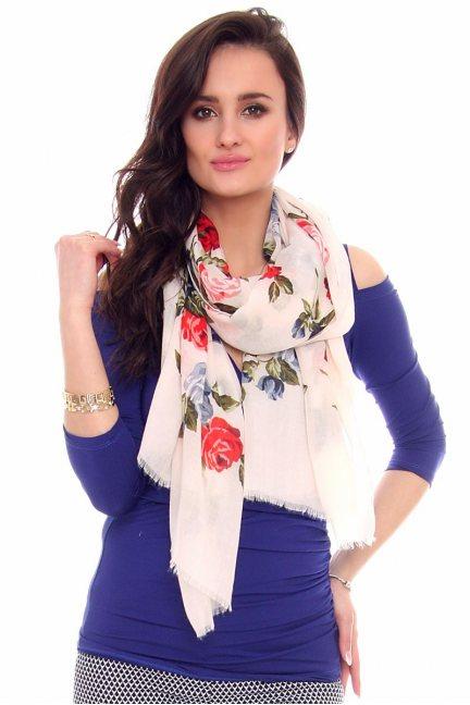 Chustka modna kwiatki CMS68 pudrowy róż