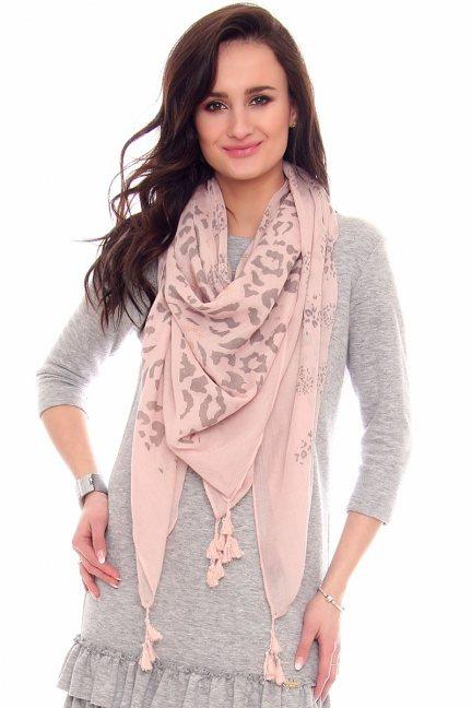 Chustka damska w panterkę CMS69 różowa
