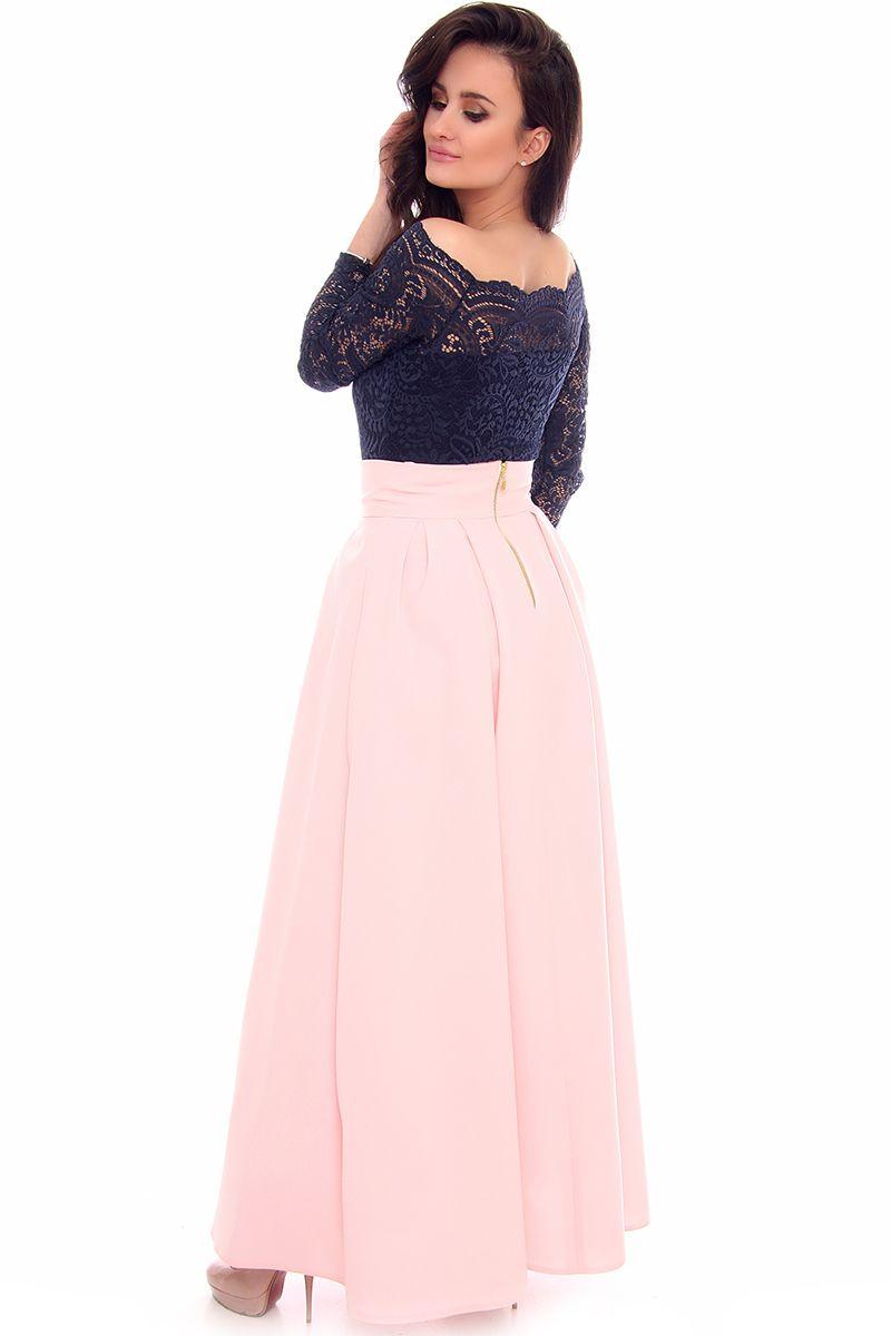 a8607232 Spódnica maxi z zakładkami CMK952 różowa spódnice damskie CosmosModa