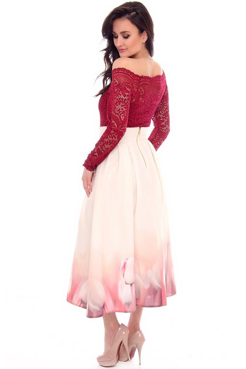 0aa4b28e Spódnica długa tulipany CMK622 ecru modna odzież online CosmosModa