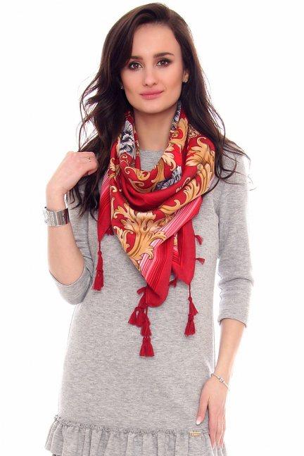 Chusta modna wzór gotycki CMS71 czerwona