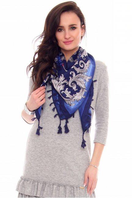 Chusta modna wzór gotycki CMS71 niebieska