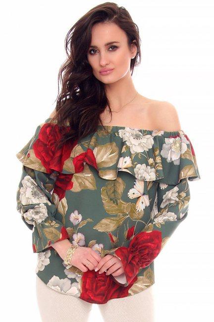 Bluzka hiszpanka kwiatki CMK960 zielona
