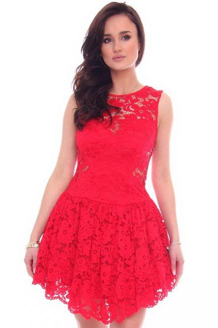 Sukienka koronkowa klosz CMK652 czerwona
