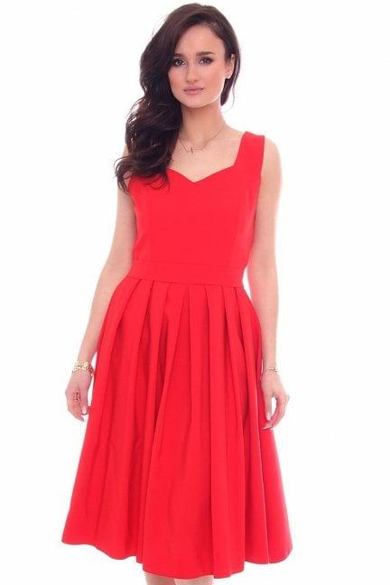 Sukienka rozkloszowana CMK516 czerwona