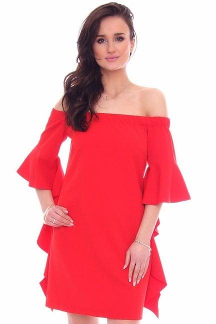 Sukienka odkryte ramiona czerwona