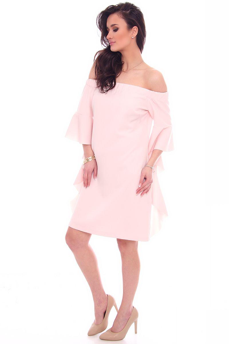 9c9ff06958 ... Sukienka modna mini z falbankami  Sukienka elegancka odkryte ramiona   Modne sukienki wizytowe ...