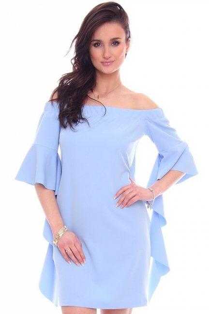 Sukienka odkryte ramiona CMK354 niebieska