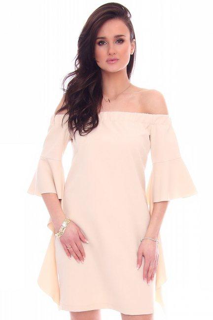 Sukienka odkryte ramiona beżowa